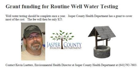 Grant Funding for Routine Well Water Testing